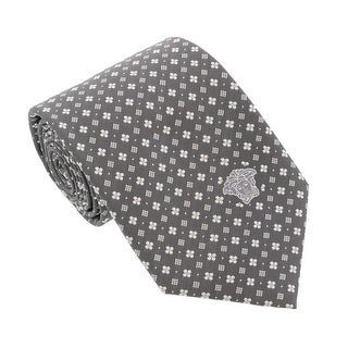 Versace Light Grey Woven Floral Neat Tie
