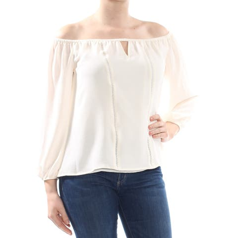 CECE Womens Ivory Keyhole 3/4 Sleeve Off Shoulder Top Size: M