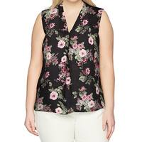 Nine West Womens Plus Floral Print Rosebud Blouse