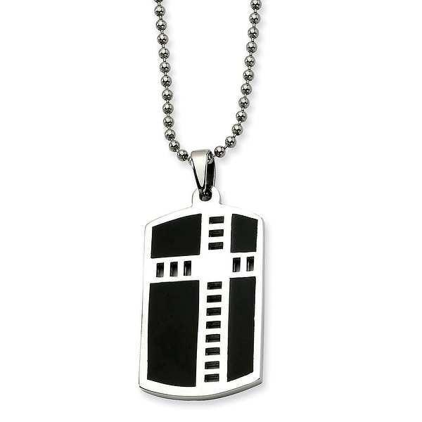 Chisel Stainless Steel Cross Black Enamel Dogtag Pendant 24 Inch Necklace (1 mm) - 24 in