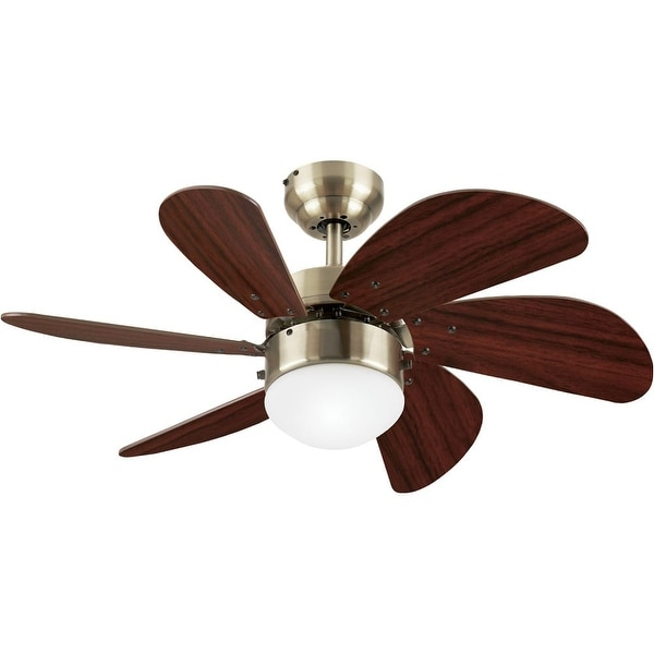 "Westinghouse 7824865 Turbo Swirl 30"" 6 Blade Hanging Indoor Ceiling Fan with Reversible Motor, Blades, Light Kit, and Down Rod"