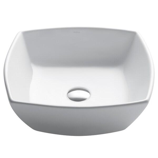 Kraus Elavo 16 1/2 inch Square Porcelain Ceramic Vessel Bathroom Sink. Opens flyout.