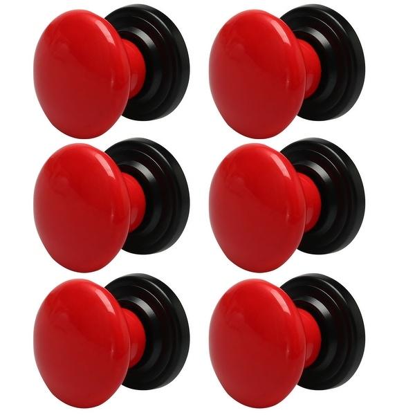 6pcs Ceramic Knobs Vintage Knob Drawer Round Pull Handle Furniture Drawer Cabinet Cupboard Wardrobe Dresser Replacement Red
