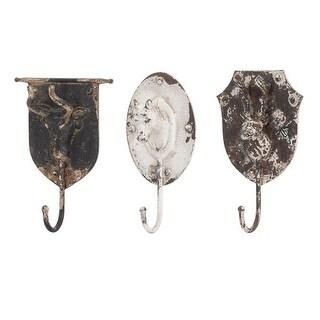 Set of 3 Distressed Vintage Style Metal Animal Wall Hooks 11