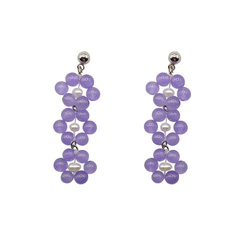 Lavender Jade Earrings on Silver Ball Studs - 3 Daisies