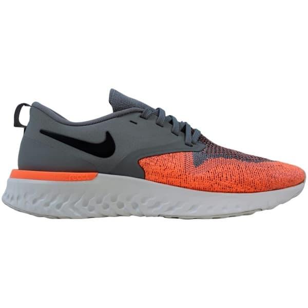 slide 1 of 1, Nike Odyssey React 2 Flyknit Cool Grey/Black-Bright Mango AH1016-004 Women's