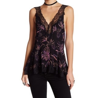 Free People NEW Black Womens Size Small S Lace Floral Print Tunic Top