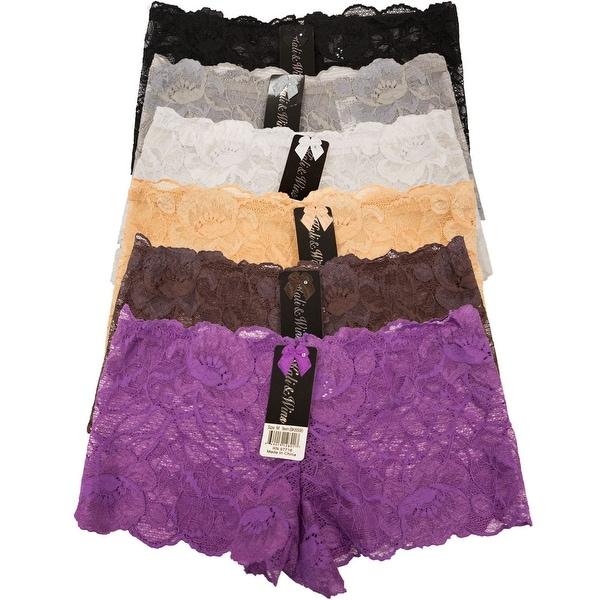 Women's 6 Pack Lace Cheeky Boyshorts Panties
