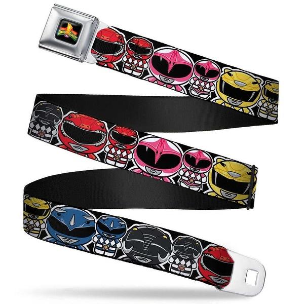 Power Rangers Logo Full Color Power Rangers Chibi W Faces Close Up Webbing Seatbelt Belt