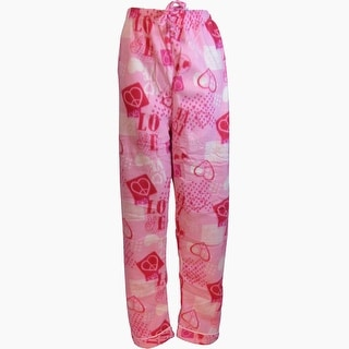 Women's Fleece Multi Pattern Pajamas Pants (Pink)