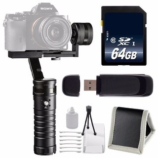 ikan Beholder MS1 3-Axis Motorized Gimbal Stabilizer + 64GB SDXC Class 10 Memory Card + Deluxe Starter Kit Bundle