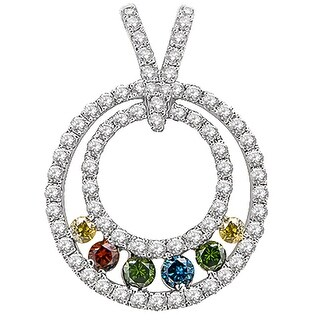 Prism Jewel 0.63Ct G-H/SI1 Multi Color Diamond & Diamond Pendant - blue,green,yellow,cognac/White G-H