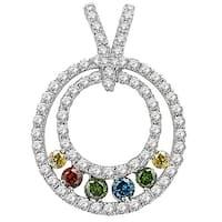 Prism Jewel 0.63Ct G-H/SI1 Multi Color Diamond & Diamond Pendant - White G-H