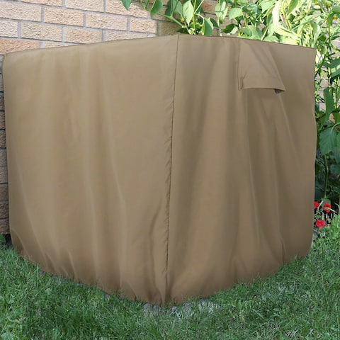Sunnydaze Khaki Heavy-Duty Square Outdoor Air Conditioner Cover - 34 X 30-Inch - Heavy-Duty Square