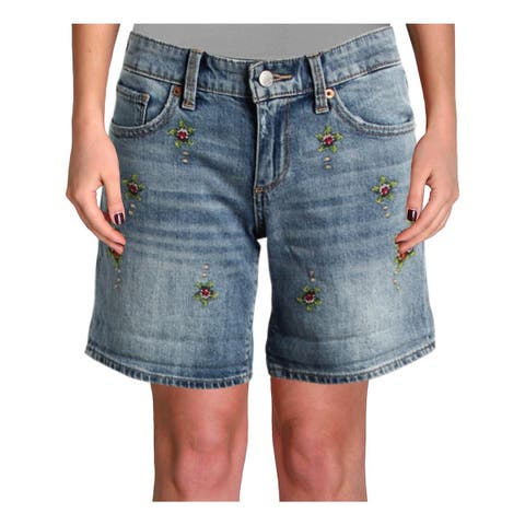 Lucky Brand Womens Roll Up Denim Shorts Embroidered Mid-Rise