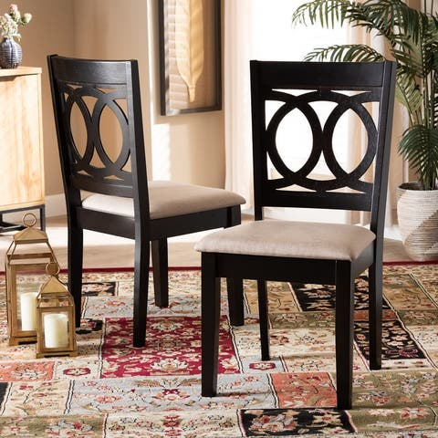 Lenoir Modern and Contemporary Sand Fabric Upholstered Espresso Brown Finished Wood 2-Piece Dining Chair Set Set