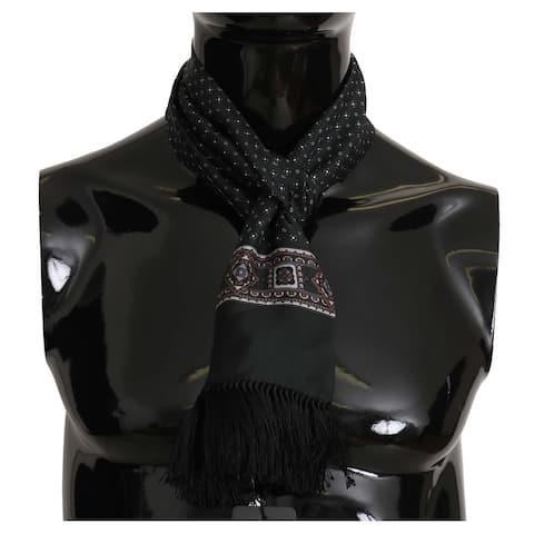 Dolce & Gabbana Green Baroque Tassel Mens Silk Men's Scarf - one-size