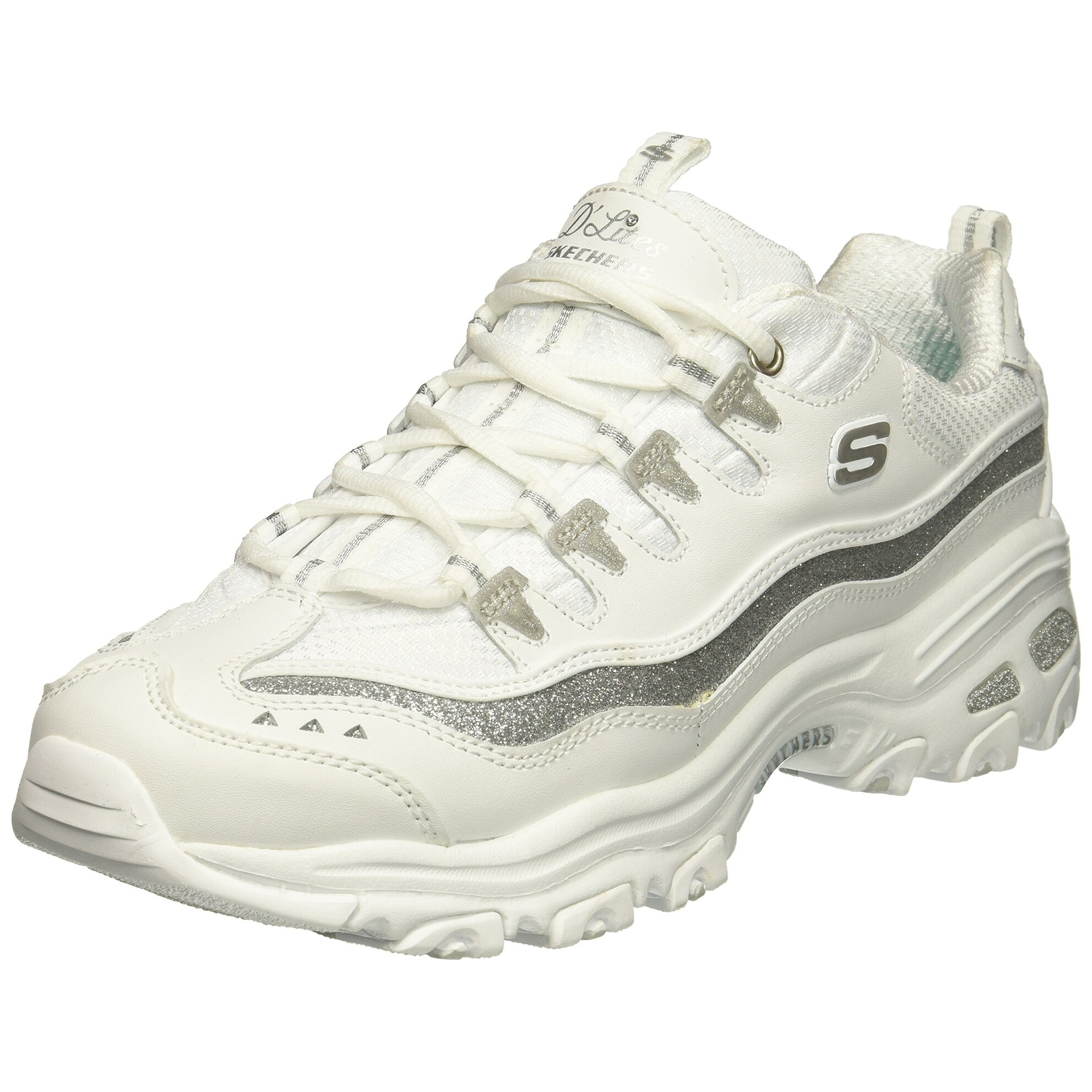 Skechers Sport Women's D'Lites Now and Then Fashion Sneaker, Silver White, 7.5 M US