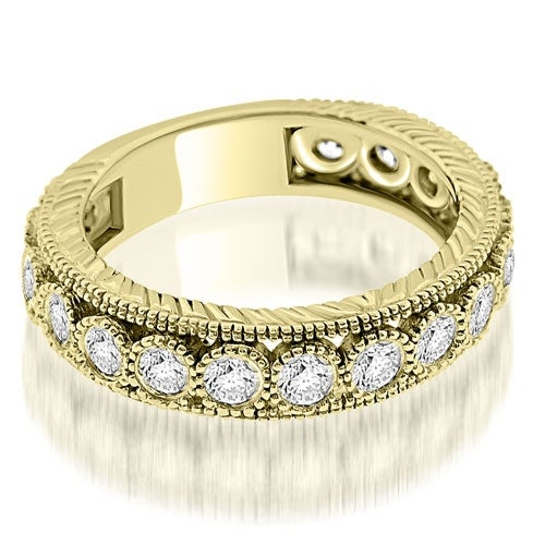 0.63 cttw. 14K Yellow Gold Antique Style Round Cut Bezel Diamond Eternity Band