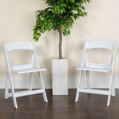 2 Pack 1000 lb. Capacity White Resin Folding Chair with Slatted Seat