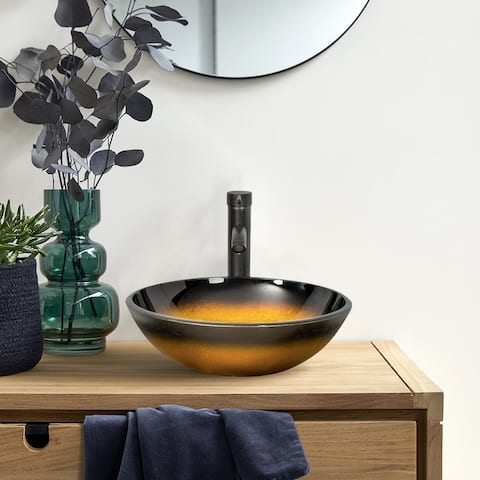 Bathroom Vessel Sink with ORB Faucet and Pop Up Drain - 16.5*16.5*5.5