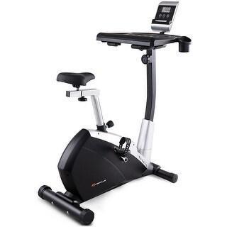 Goplus Exercise Bike Upright Stationary Magnetic Bicycle Laptop Tray Office Workstation