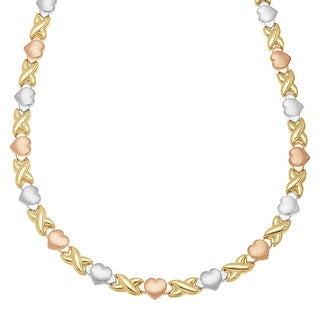 Xo' Link Necklace in 18K Three-Tone Gold-Plated Sterling Silver