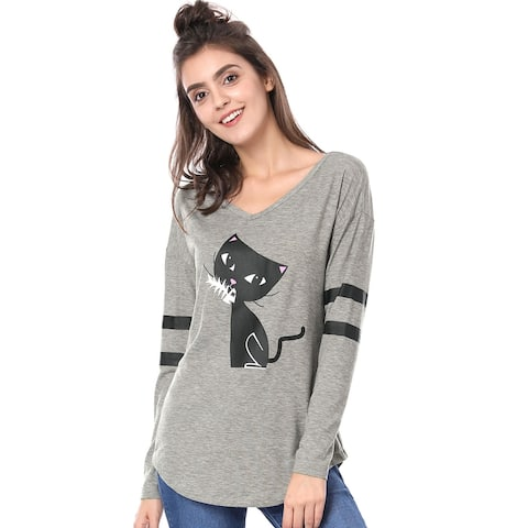 Women V Neck Drop Shoulder Striped Cat Print Tunic Top