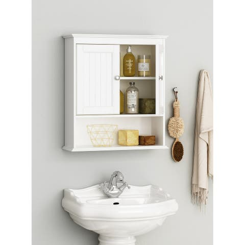 Spirich-Bathroom Wall Spacesaver Storage Cabinet Over The Toilet with Door , Wooden, White