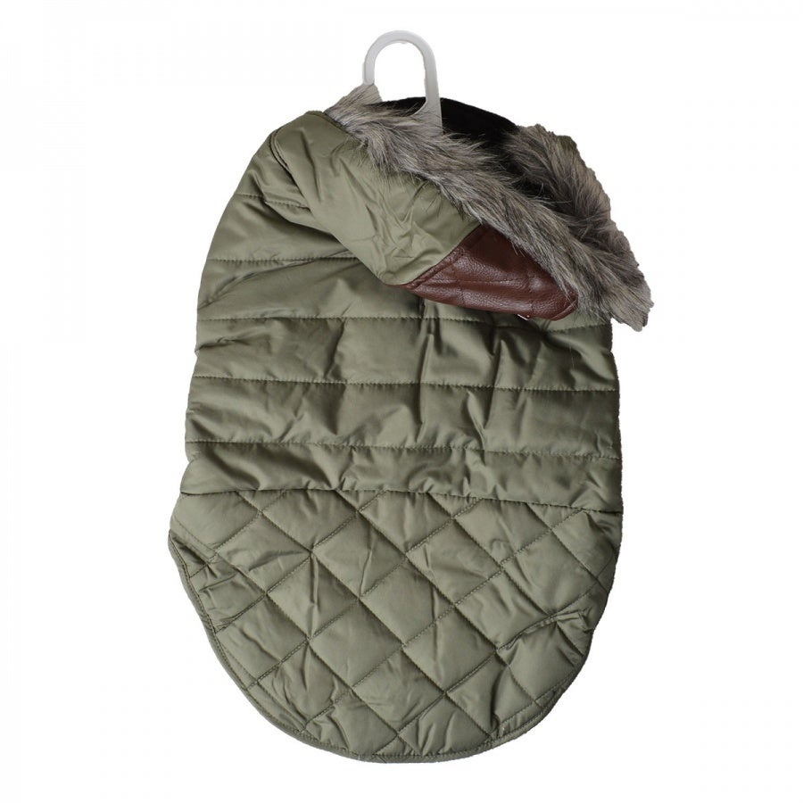 Fashion Pet Outdoor Dog Leather Detail Dog Coat - Olive Green -  Large - (Fits 19-24 Neck to Tail)