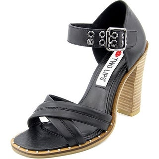 Two Lips Calida Women Open Toe Leather Black Sandals