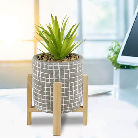 10-Inch Tall Artificial Succulent Fake Plant in Gray Cement Pot with Wooden Stand, Faux Plants