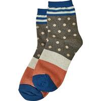 Women's Socks - Dots 'N Stripes Socks - Blue - One size