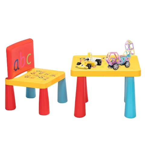 Letter Pattern Children Table and Chair Set Reduced Version Mushroom Leg