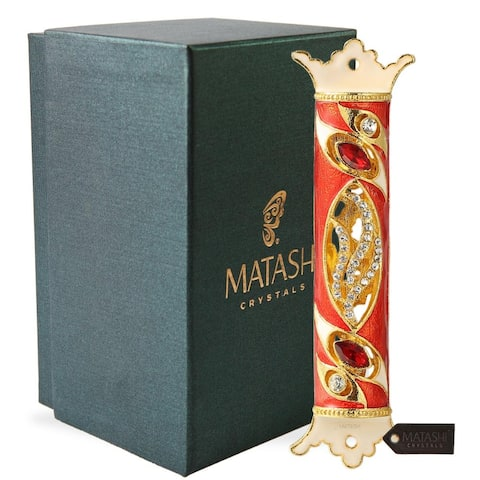"""Matashi MTMZ572 4.5"""" Hand Painted Enamel Mezuzah Embellished with a Royal Red Design with Gold Accents Red and Clear Crystals"""