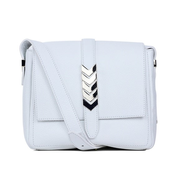 c76c13a000 Shop Versace Collection Solid White Grained Leather Arrow Shoulder ...