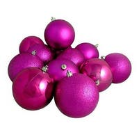 "96ct Shatterproof Light Magenta Pink 4-Finish Christmas Ball Ornaments 1.5"" (40mm)"