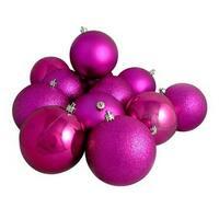 "96ct Shatterproof Light Magenta Pink 4-Finish Christmas Ball Ornaments 1.5"" (40mm)"