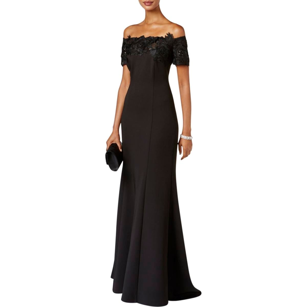 Shop Ignite Evenings Womens Evening Dress Lace Trim Sequined - Free ...