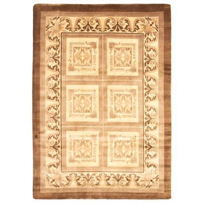 ECARPETGALLERY Hand-knotted Opulence Tan Wool Rug - 10'0 x 14'0