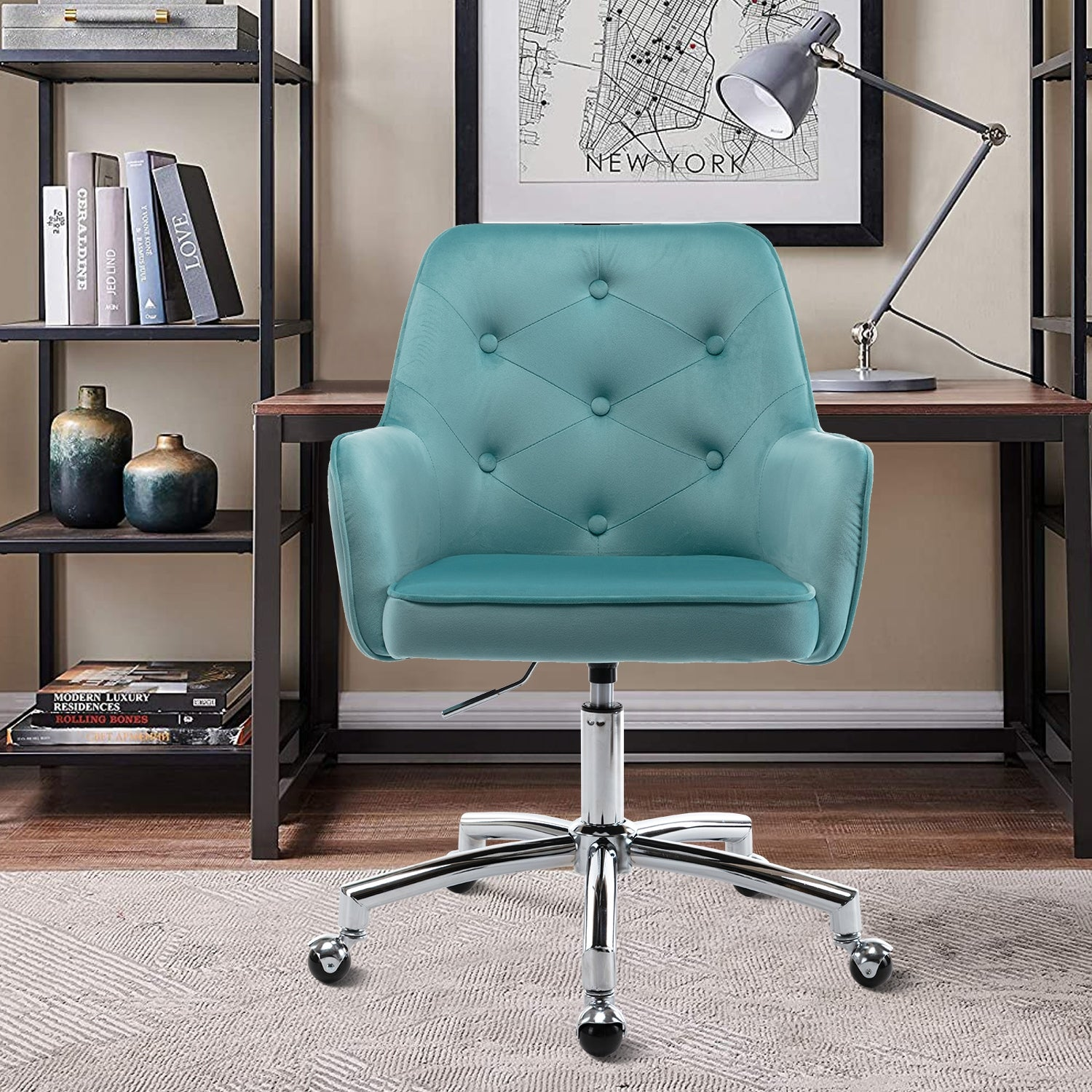 Velvet Upholstered Swivel Tufted Adjustable Height Homeoffice Task Chair With Wheels Overstock 32929340