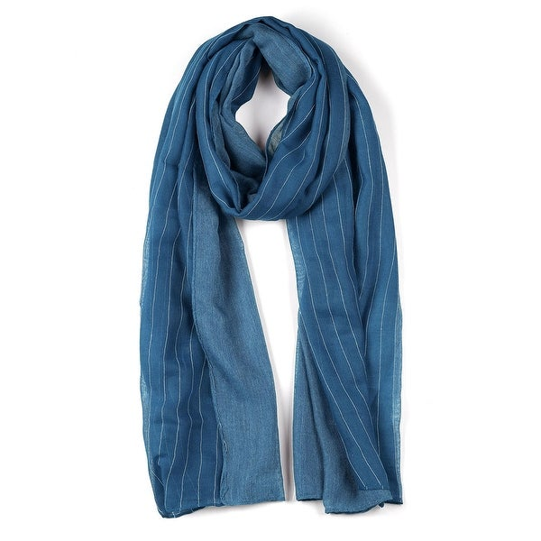 Long Striped Solid Color Scarf for Women Blue-2