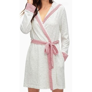 Splendid NEW Gray Paprika Red Womens Size Medium M Striped Belted Robes