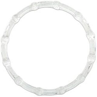 """Clear W/Glitter - Plastic Bamboo-Look Purse Handle 6"""" Round"""