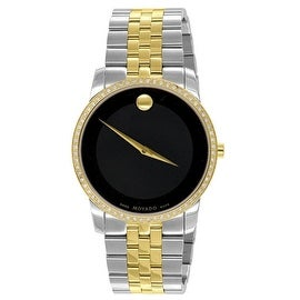 Movado Mens Watch 1 CT Genuine Diamonds Museum Gold / Silver 2 Tone Designer Party Wear Sale