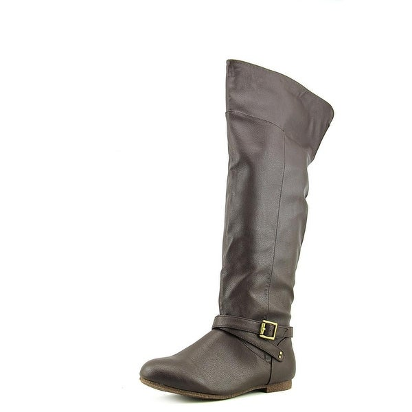 Dolce by Mojo Moxy Deacon Women W Round Toe Synthetic Brown Over the Knee Boot