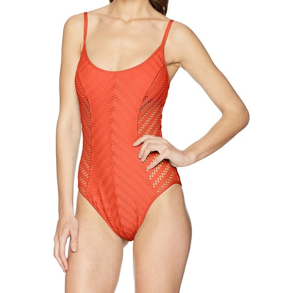 Kenneth Cole Sienna Orange Womens Size Large L One-Piece Swimsuit