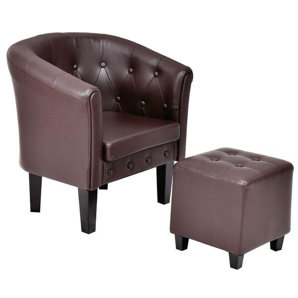 Costway PU Leather Accent ArmChair Tub Barrel Club Seat Tufted W/ Cushion  Ottoman