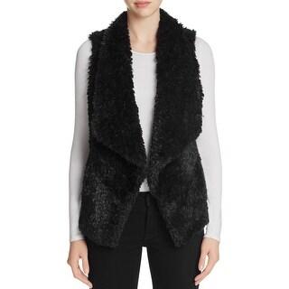 Calvin Klein Womens Casual Vest Faux Fur Open Front