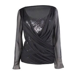 Marina Women's Ruched Chiffon Sequin Blouse - Black